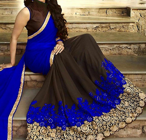 latest-designer-sarees-blue-and-black-designer-saree