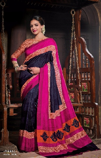 latest-designer-sarees-blue-and-pink-strip-saree