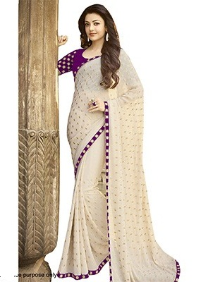 latest-designer-sarees-simple-dotted-saree