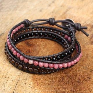 leather-bracelets-designs-multi-gemstones-leather-bracelet