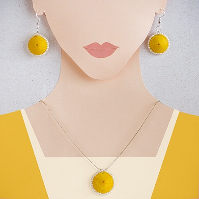 mustard-colour-quilling-jewel-set