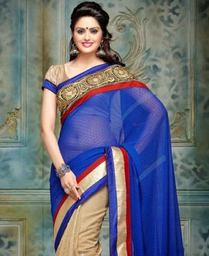 Blue And Golden Blouse Design For Net Saree