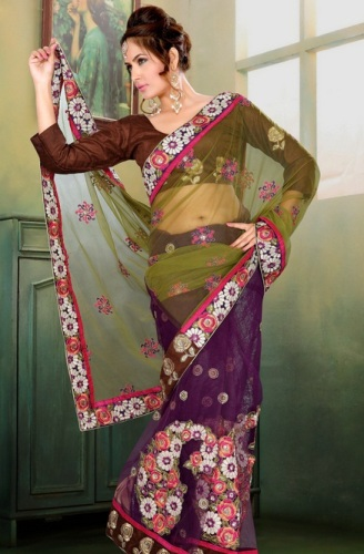 Plain Uni-Color Blouse Design For Net Saree