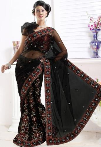 One Shoulder Puff Blouse Design For Net Saree