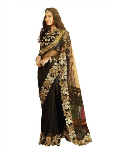 High Neck Full Sleeved Floral Blouse Design For Net Saree