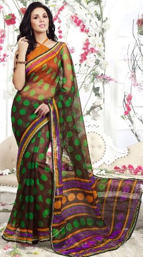 Orange Halter Neck Blouse Design For Net Saree
