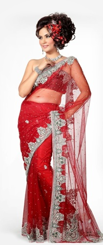 Off Shoulder Net Saree Blouse Design