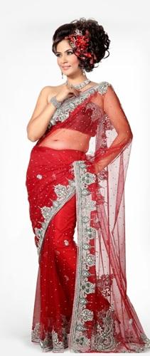 Off Shoulder Net Saree Blouse Design