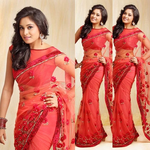 Net Saree Blouse Neck Designs