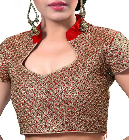 Chinese Collar Blouse For Net Saree