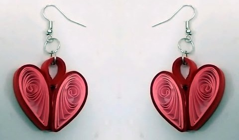 Paper Quilling Earring Designs Pink Hearts Quilled
