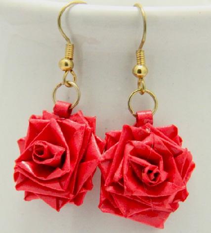 Paper Quilling Earring Designs Rose Earrings