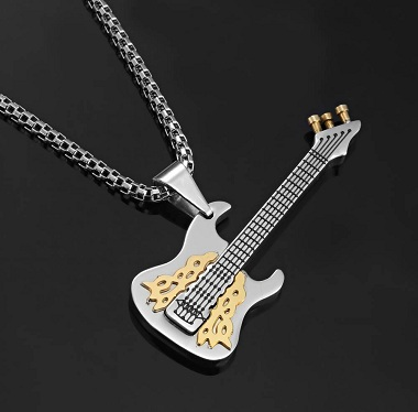 Stunning Rock And Roll Guitar Pendant Silver Chain