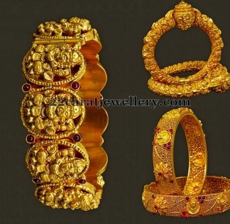 temple-jewellery-bangle-designs-antique-floral-pattern-temple-kada