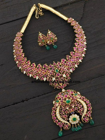 temple-jewellery-necklace-designs-ruby-necklace-with-jhumar