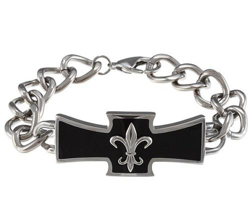 titanium-bracelets-black-resin-fleur-de-lis-mens-bracele