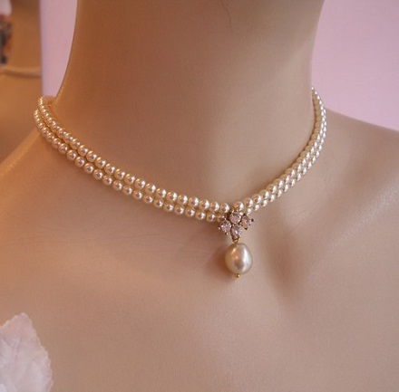 Vintage Style Wedding Pearl Choker Necklace