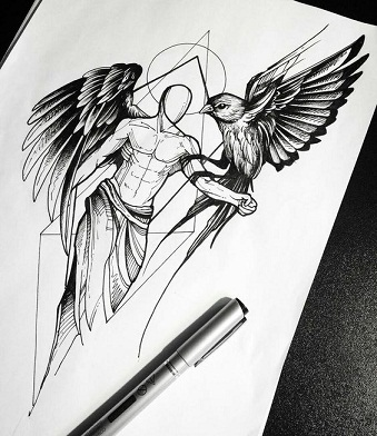Another common sketch tattoo style is the angel style tattoo they carry a deep meaning as who wear them are known to be very spiritual and religious in
