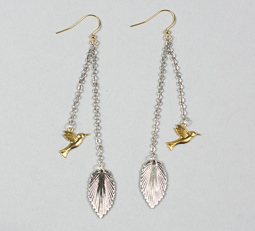 bird-and-leaf-silver-earrings