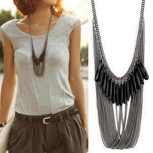 black-long-necklace