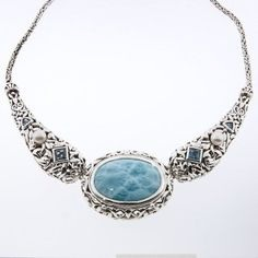 Blue Diamond Bridal Necklace with Pearls