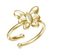 Gold Finger Ring Design With Butterfly