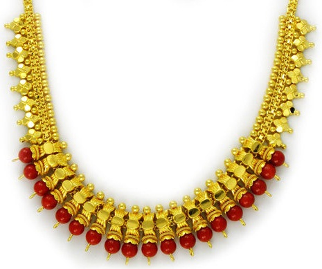 9 indian simple coral necklace designs for ladies coral gold necklace 2 mozeypictures Image collections