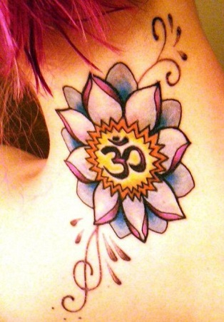 colourful-floral-om-tattoo