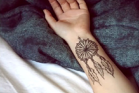 flower dreamcatcher tattoo