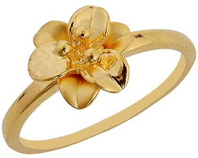 Simple Gold Ring Floral Accent Gold Ring