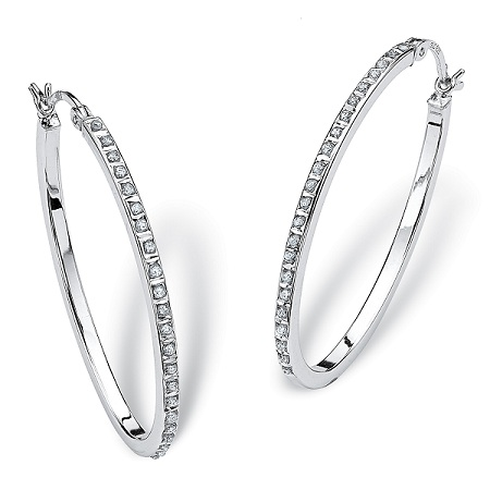 oval-shaped-diamond-hoop-platinum-earrings