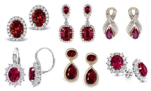 solitaire natural earrings diamond white gold boutique classic ruby product image