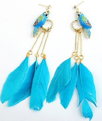 the blue feather earrings