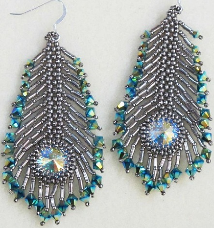 the different shaded feather earrings
