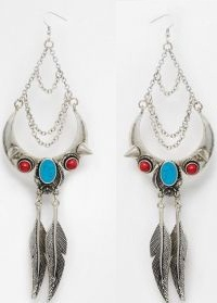 multi coloured designer earrings with feathers