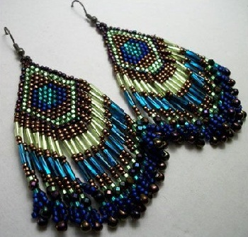 the peacock feather earrings