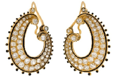 victorian-diamond-and-enamel-hoop-earring