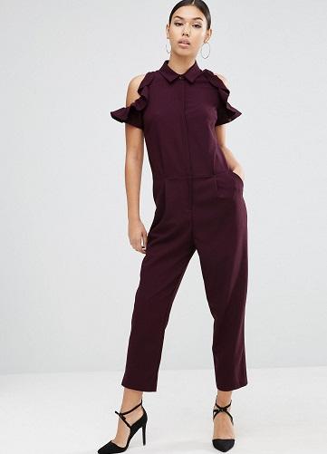 Berry Red Cold Shoulder Formal Jumpsuits7