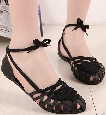 Black Gladiators Flat Sandals