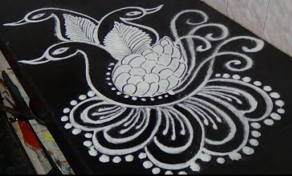 Black and White Peacock Rangoli