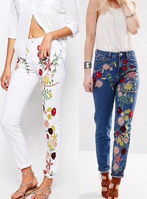 Embroidered Womens Jeans