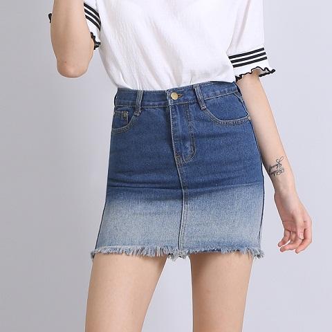 faded-denim-short-skirt