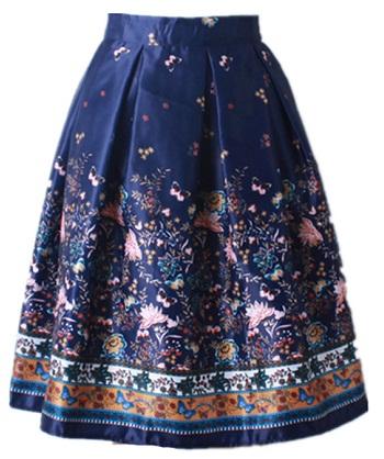 floral-design-flared-skirt