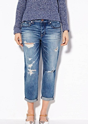 holes with ripped boyfriend jeans