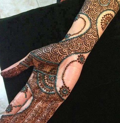 Indian Mehndi Design with Glitter