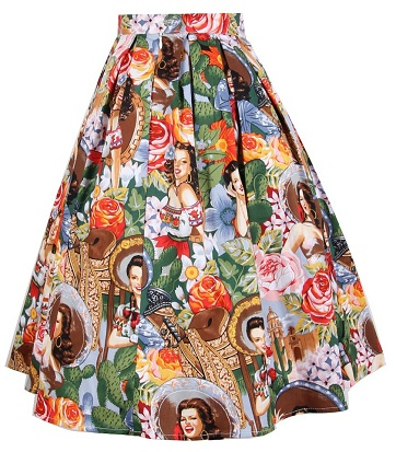 patterned-flared-skirt