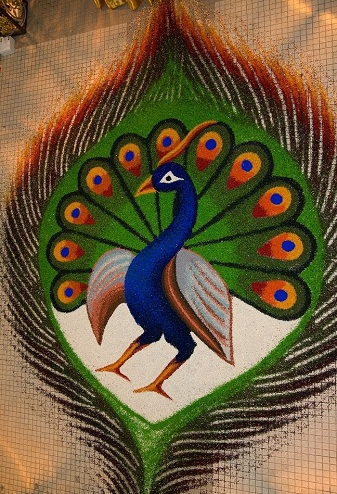 Peacock in its Feather Rangoli