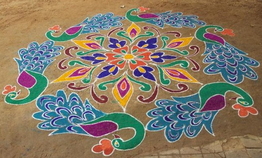 Rangoli with Multiple Peacocks
