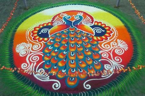 Rangoli with Peacock