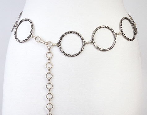 Silver Chain Belt with Circles